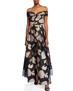 c9931c0ee6f Aidan Mattox Floral Jacquard Off-Shoulder Short-Sleeve Peplum Gown