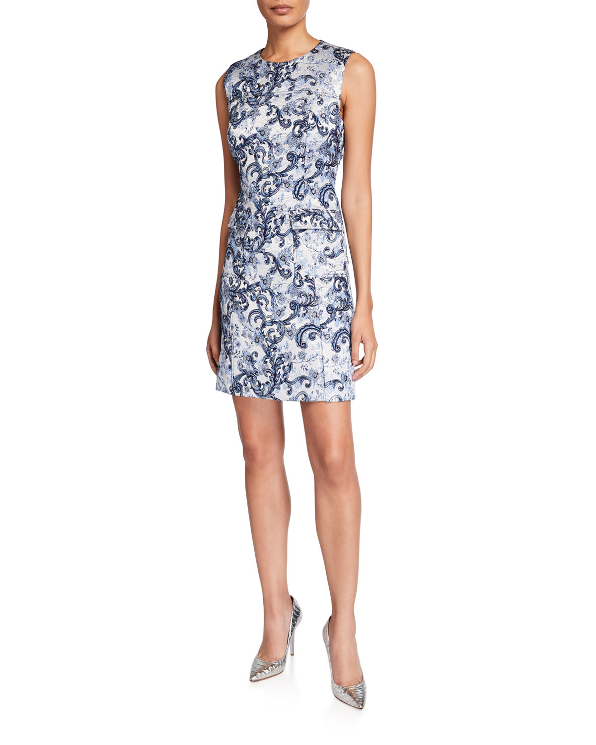 Elie Tahari Jaelyn Printed Crewneck Pocket Dress
