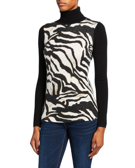 Neiman Marcus Cashmere Collection Zebra-Print Cashmere Turtleneck Sweater