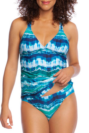La Blanca Global Tie-Dye Strappy Tankini Top