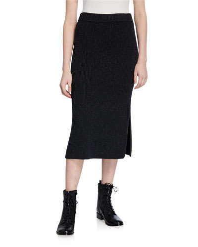 Wool/Cashmere Ribbed Skirt