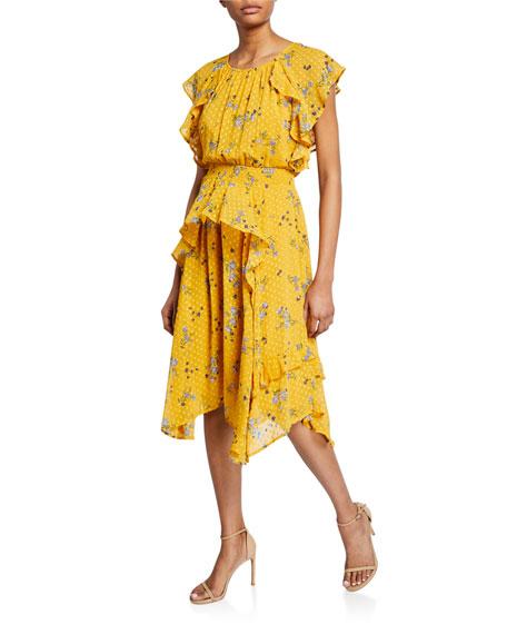 ASTR Sheila Floral Dot-Jacquard Ruffle Midi Dress