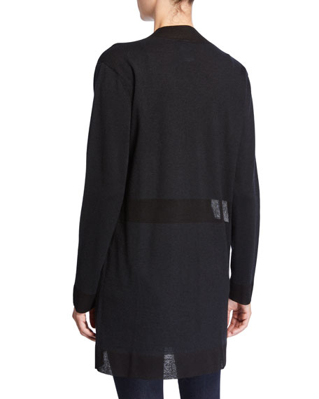 Neiman Marcus Cashmere Collection Superfine Cashmere Open-Front Cardigan with Sheer Panels
