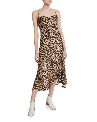 Leopard-Print Cowl-Neck Strappy Slip Dress