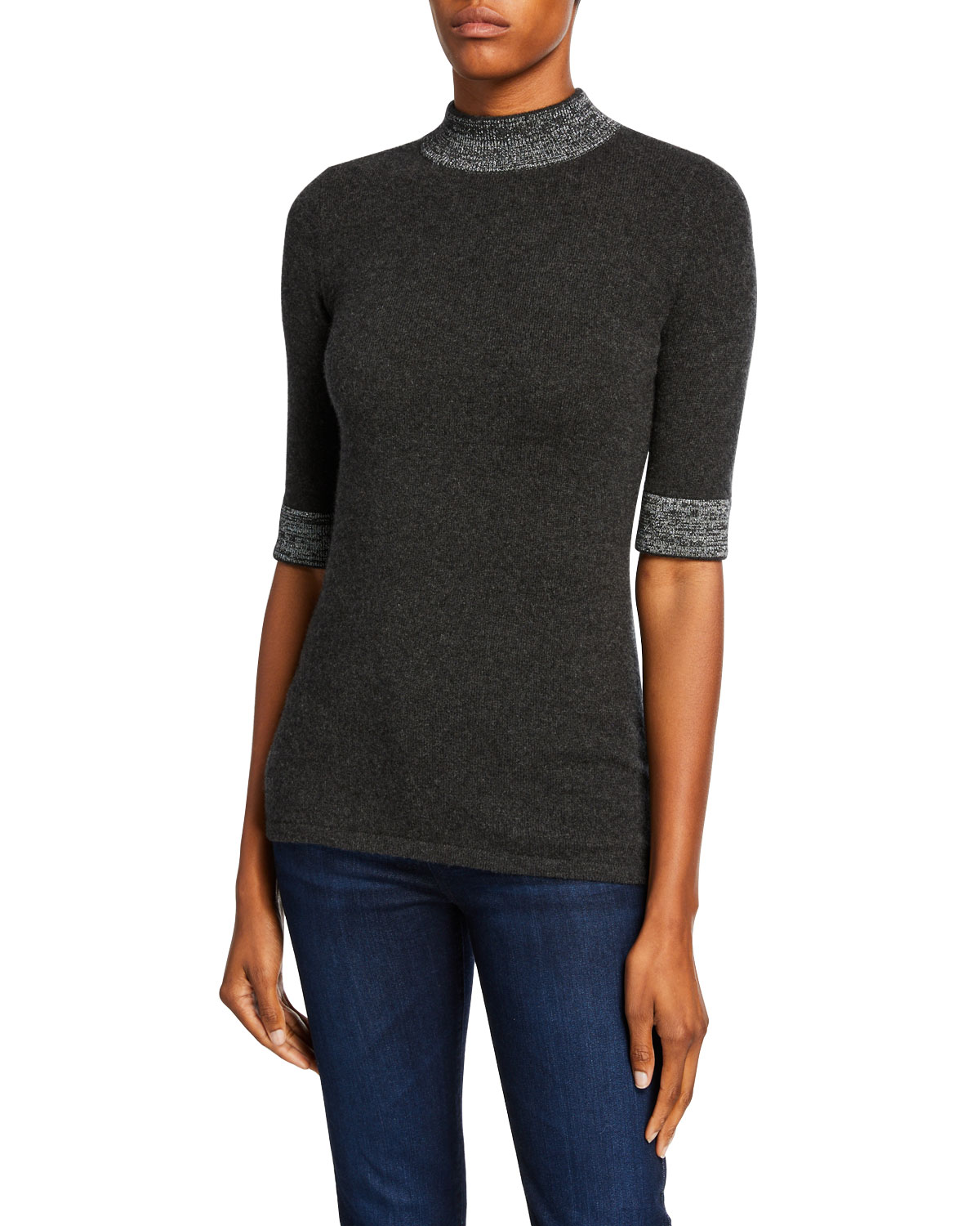 Mock Neck Elbow Sleeve Cashmere Sweater With Metallic Trim by Neiman Marcus Cashmere Collection