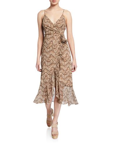 Ellie Printed Flounce Midi Dress