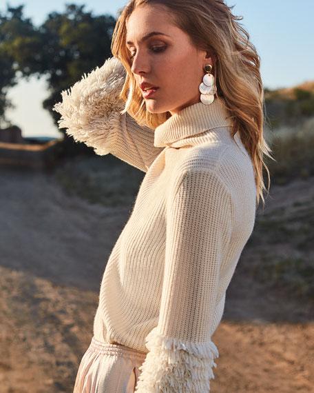 Neiman Marcus Cashmere Collection Fringe-Sleeve Turtleneck Cashmere Sweater