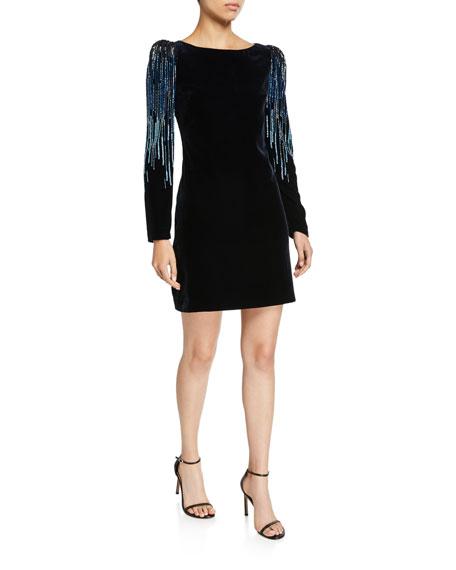 Elie Tahari Chantal Velvet Long-sleeve Short Dress With Embellishment In Stargazer