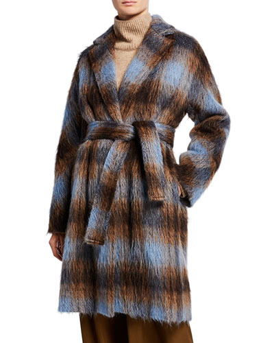 Belted Plaid Single-Button Coat