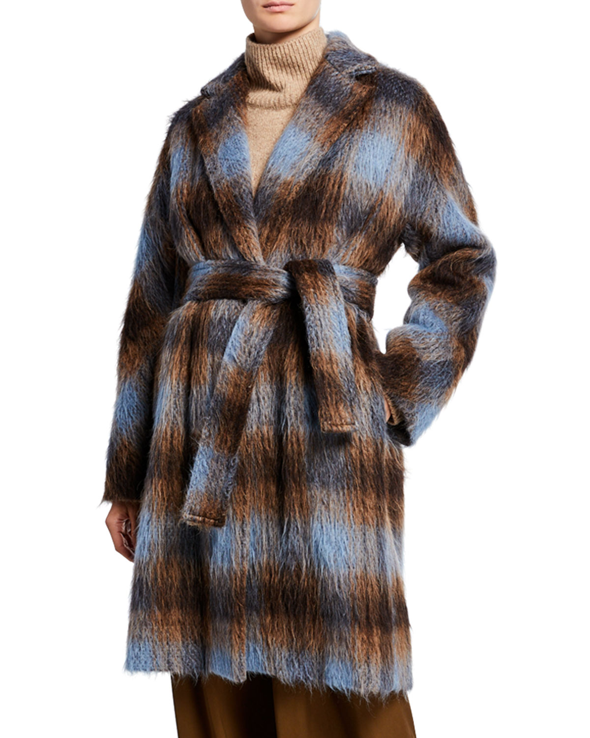 Belted Plaid Single Button Coat by Vince