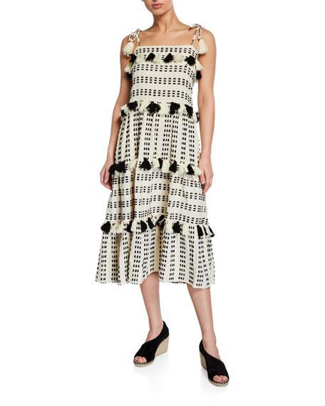 Tessora Lola Embroidered Sleeveless Tassel Dress