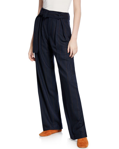 Belted Wide-Leg Pinstripe Pants