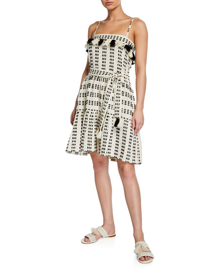 Tessora Rowan Embroidered Tie-Waist Short Dress w/ Tassels