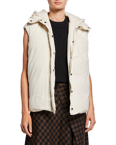 Hooded Zip-Front Puffer Vest