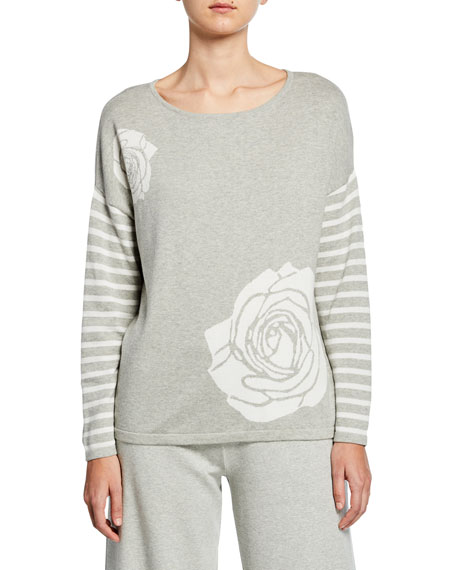 Joan Vass Boat-Neck Floral Intarsia Sweater with Striped Sleeve Detail