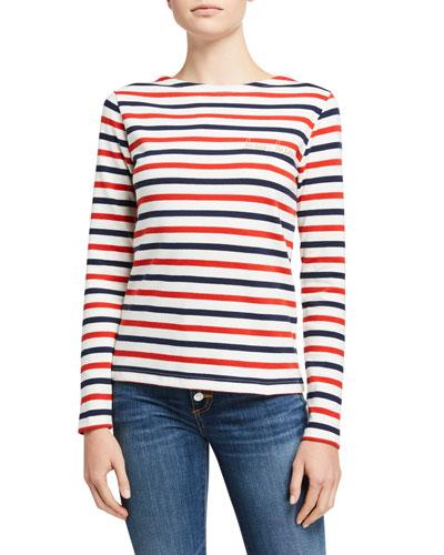 Sailor Striped Bisou Long-Sleeve Top