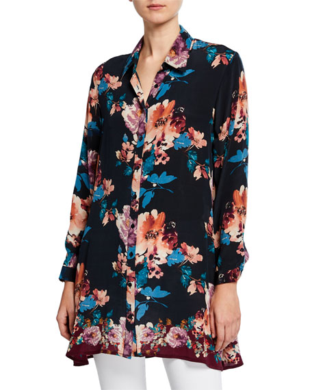 Tolani Plus Size Aniya Blossom-Print Button-Down Long-Sleeve Silk Tunic