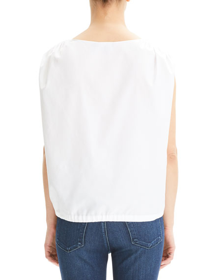 Theory Shirred V-Neck Cotton Top