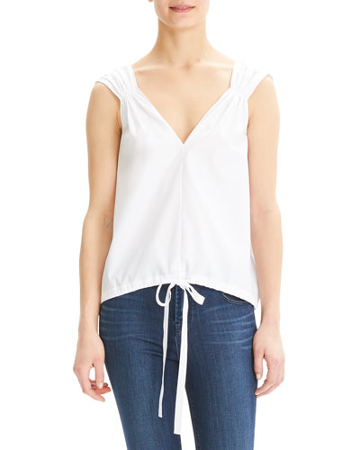 Shirred V-Neck Cotton Top