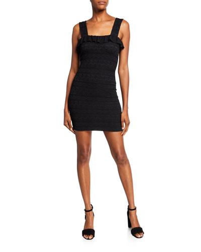 Starlit Stripe Mini Stretch Lace Dress