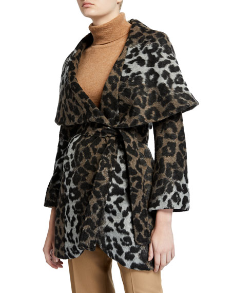 T Tahari Marla Leopard-Print Wrap Coat