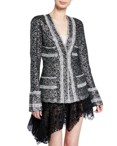 Metallic-Coated Lace Blazer