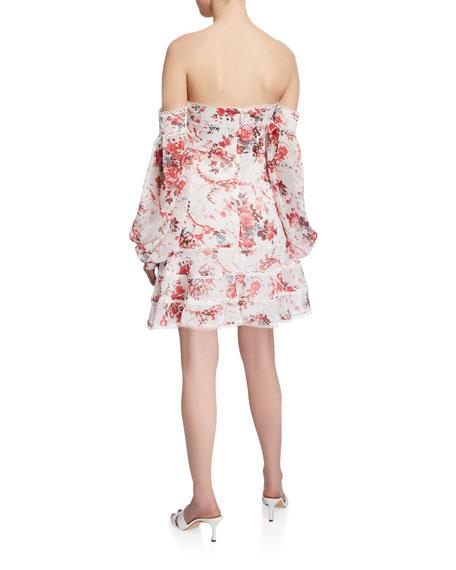 Bardot Botanical-Print Off-Shoulder Mini Dress