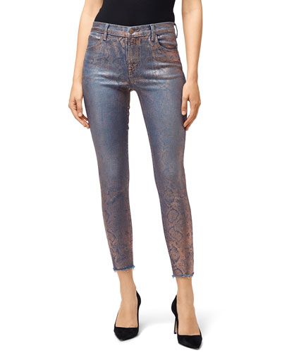 Alana High-Rise Crop Skinny with Snake Foil Finish