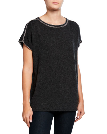Neiman Marcus Cashmere Collection Cashmere Short-Sleeve Crewneck Sweater w/ Metallic Trim