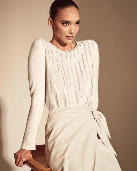 Neiman Marcus Cashmere Collection Sequin Stripe Boat-Neck Cashmere Sweater