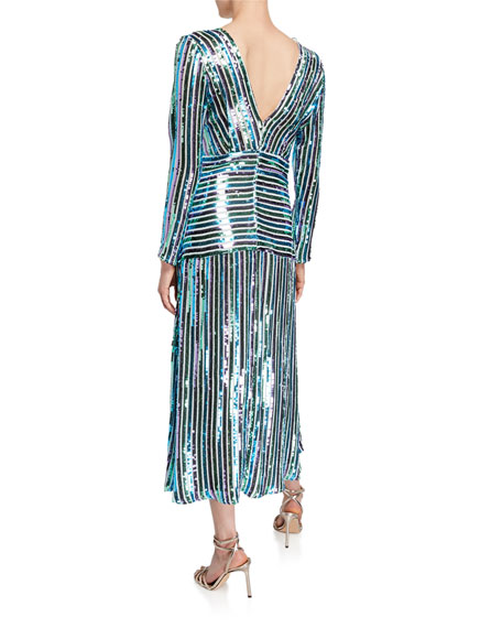 Image 2 of 2: Emmy Sequin Stripe V-Neck Long-Sleeve Dress
