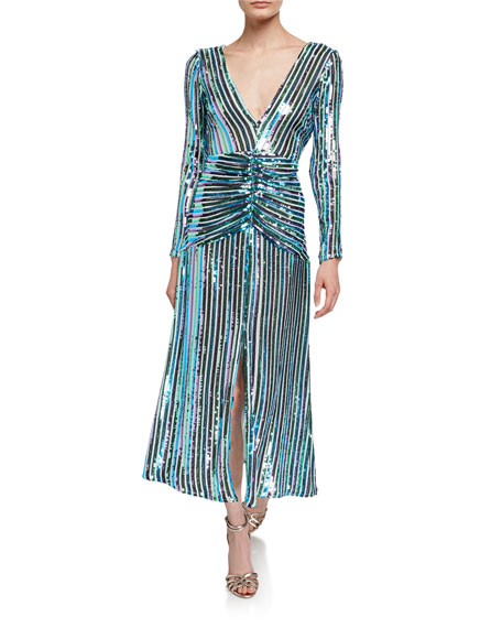 RIXO Emmy Sequin Stripe V-Neck Long-Sleeve Dress