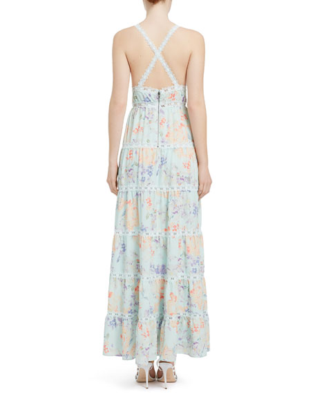 Alice + Olivia Karolina Floral-Print Paneled Halter Maxi Dress