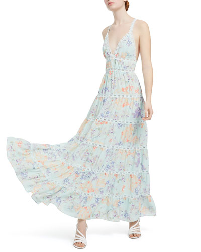 Karolina Floral-Print Paneled Halter Maxi Dress