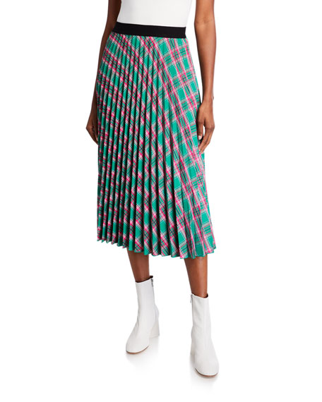 Moncler Gonna Pleated Plaid Skirt