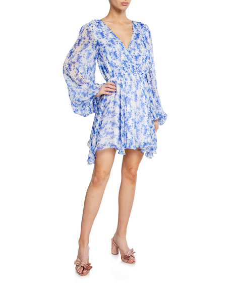 Caroline Constas Orlena Blouson-Sleeve Floral Short Dress