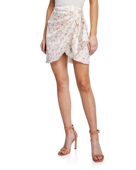 Image 1 of 3: Caroline Constas Koren Draped Floral Mini Skirt