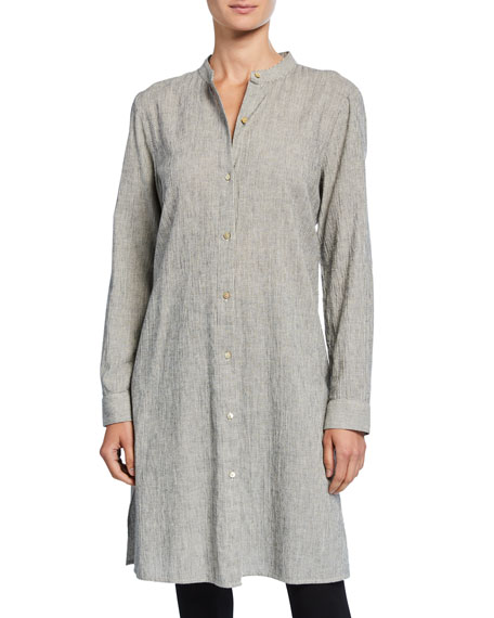 Eileen Fisher Petite Ticking Stripe Button-Down Long-Sleeve Long Shirt
