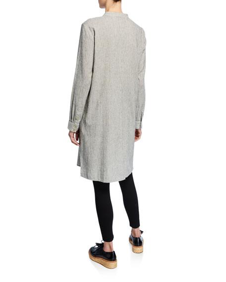 Eileen Fisher Ticking Stripe Button-Down Long-Sleeve Long Shirt
