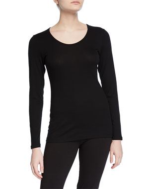 fd349f2cb Eileen Fisher Plus Size Long-Sleeve Scoop-Neck Rib Tee