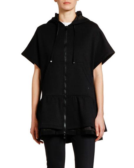 Moncler Hooded Logo-Back Cardigan w/ Drop Waist