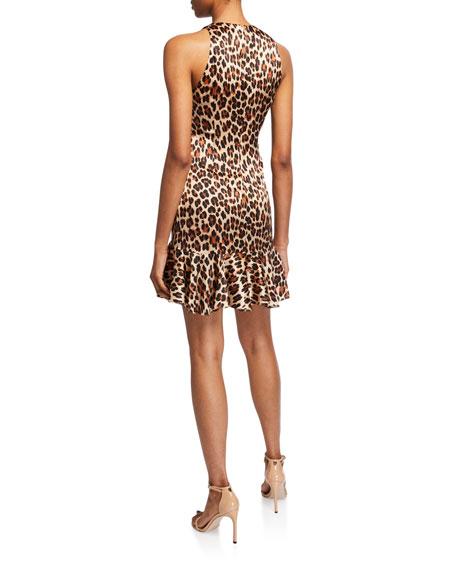 Caroline Constas Audrina Leopard-Print Flounce Mini Dress