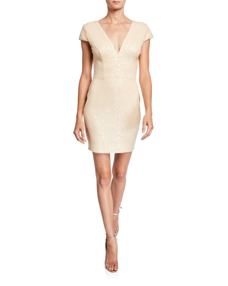 Dress The Population Zoe Sequin V-Neck Cap-Sleeve Sheath Dress