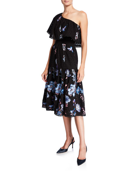Dress The Population Giselle Floral Embroidered One-Shoulder Ruffle-Neck Dress