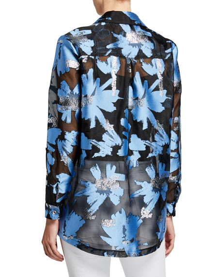 Image 3 of 3: Berek Plus Size Foilicious Floral Metallic Button-Down Long-Sleeve Easy Shirt