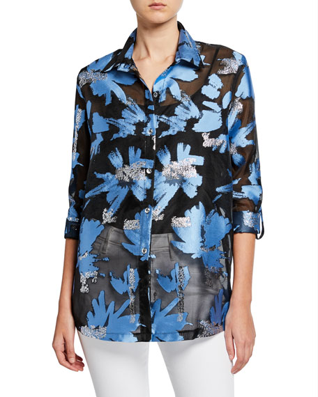Image 1 of 3: Berek Plus Size Foilicious Floral Metallic Button-Down Long-Sleeve Easy Shirt