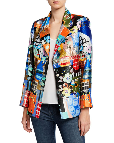 Berek Plus Size Colorful Three-Button Mixed Media Blazer