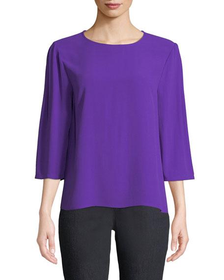 Eileen Fisher Silk Georgette Crepe 3/4-Sleeve Top