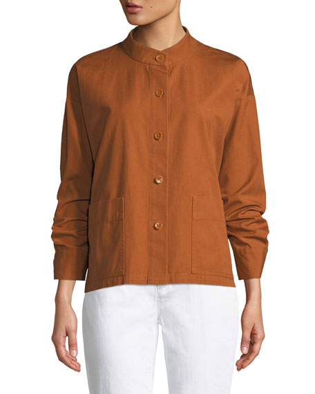 Eileen Fisher Button-Front Long-Sleeve Boxy Canvas Jacket