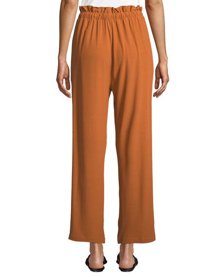 Eileen Fisher Straight-Leg Crepe Ankle Pants w/ Drawstring Waist